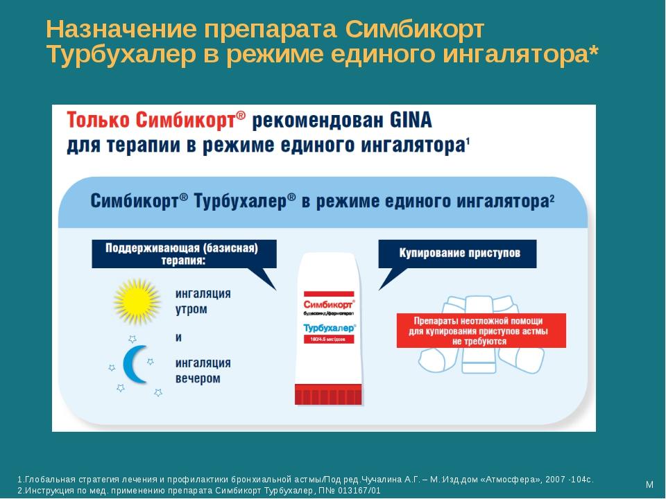 Назначение препарата Симбикорт Турбухалер в режиме единого ингалятора* М 1.Гл...