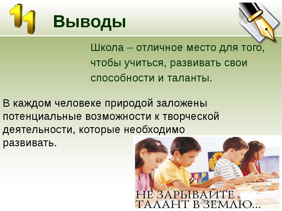 Выводы Школа – отличное место для того, чтобы учиться, развивать свои способ...