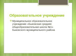 Образовательное учреждение Муниципальное образовательное учреждение «Быковска