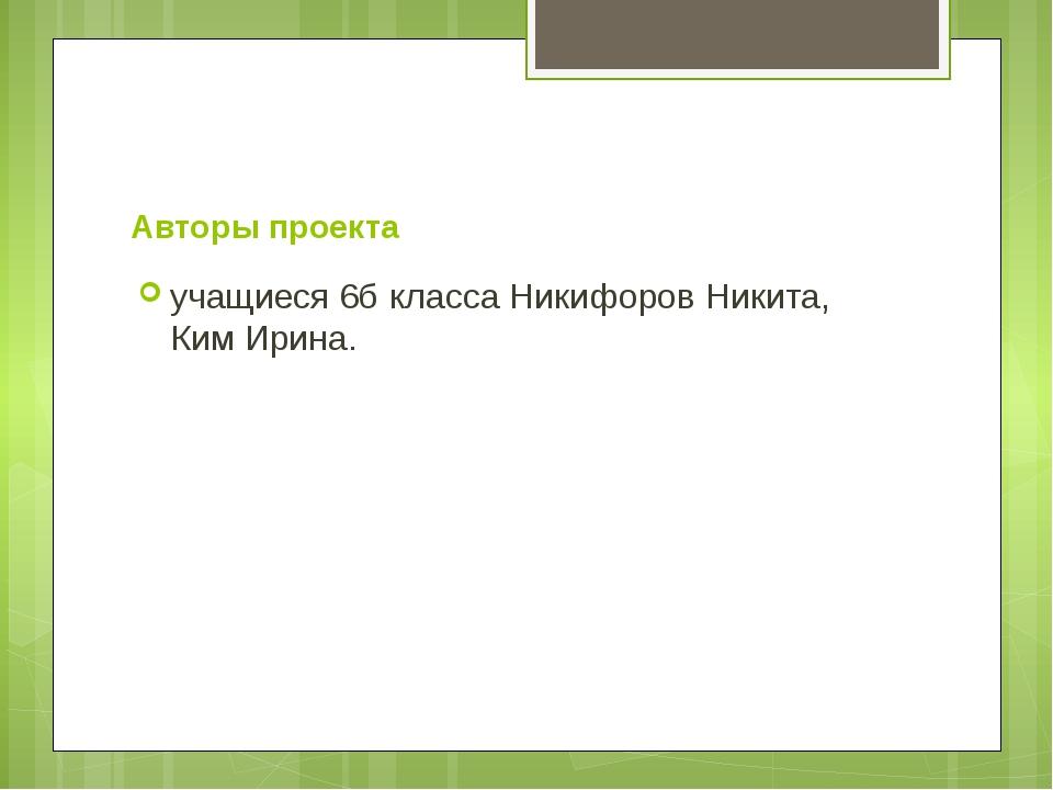 Авторы проекта учащиеся 6б класса Никифоров Никита, Ким Ирина.