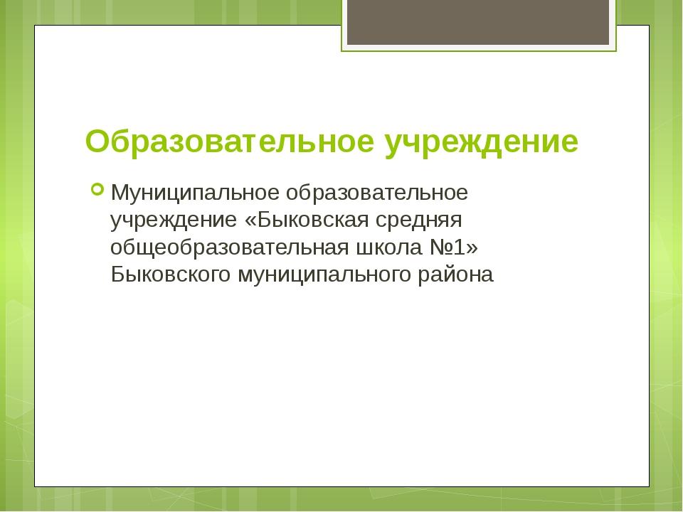 Образовательное учреждение Муниципальное образовательное учреждение «Быковска...