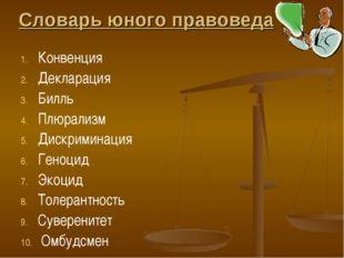 Словарь юного правоведа Конвенция Декларация Билль Плюрализм Дискриминация Ге