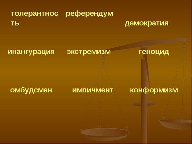 толерантность референдум демократия инангурация экстремизм геноцид омбудс...