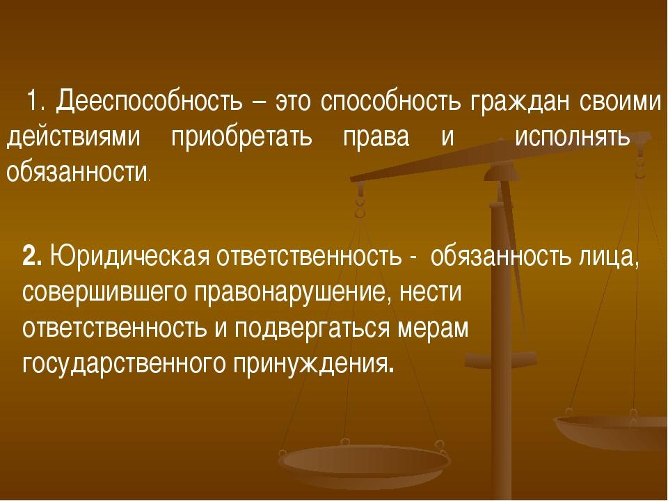1. Дееспособность – это способность граждан своими действиями приобретать пр...