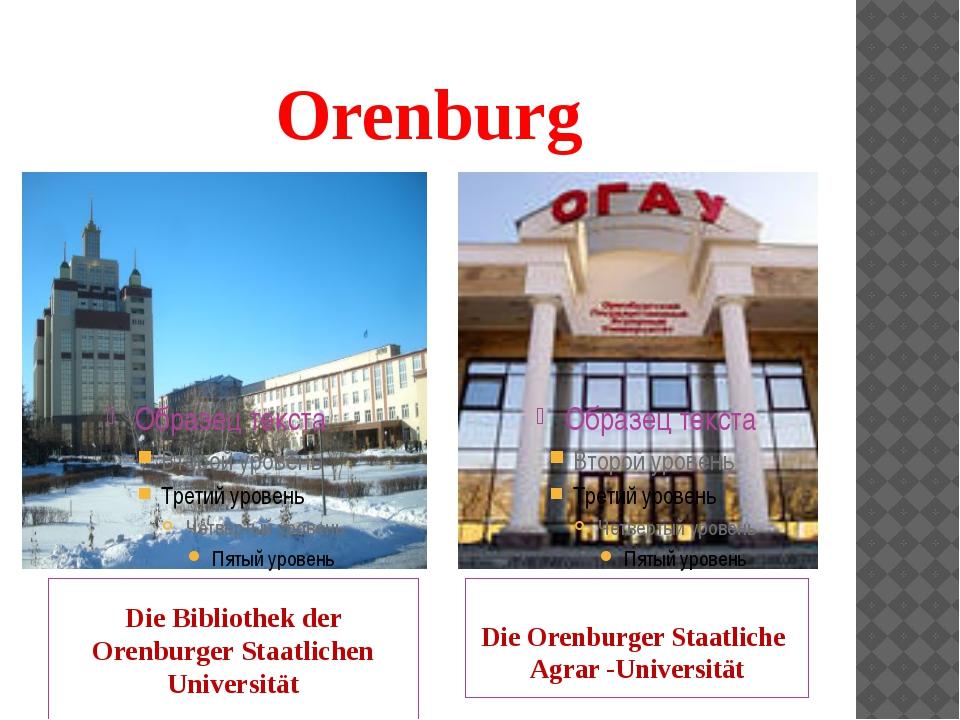 Orenburg Die Bibliothek der Orenburger Staatlichen Universität Die Orenburger...