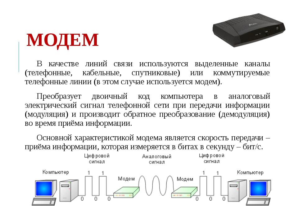МОДЕМ В качестве линий связи используются выделенные каналы (телефонные, кабе...