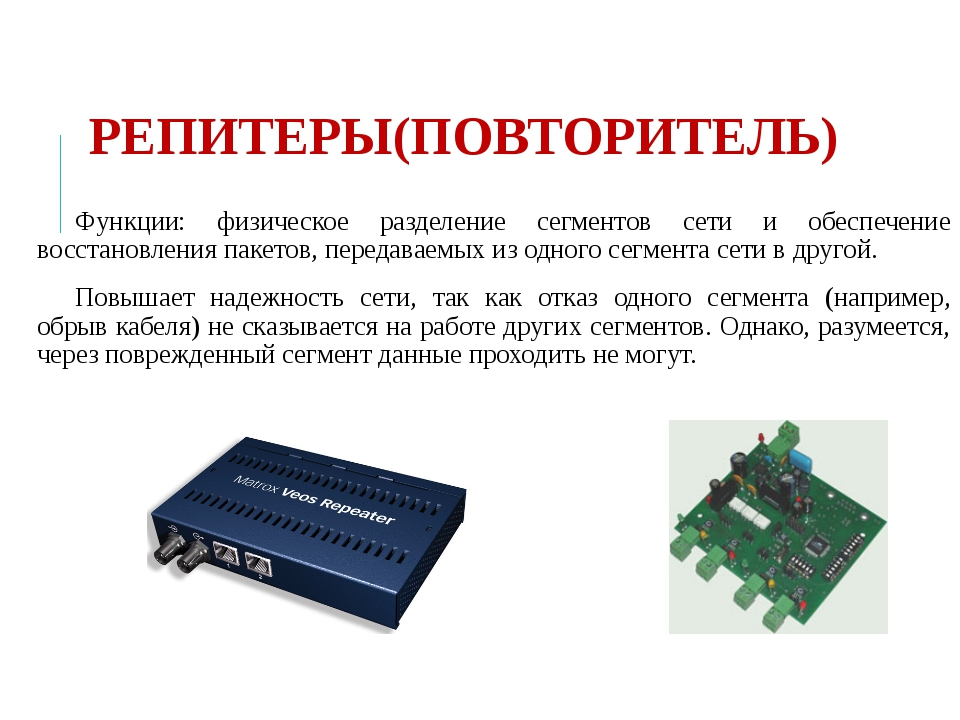 РЕПИТЕРЫ(ПОВТОРИТЕЛЬ) Функции: физическое разделение сегментов сети и обеспеч...