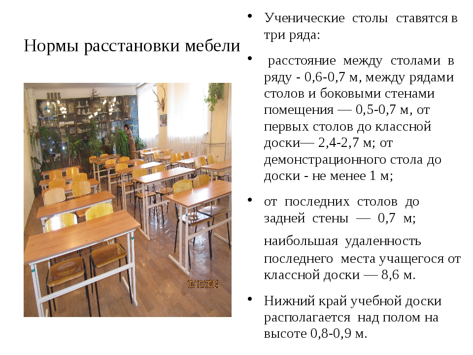 Нормы расстановки мебели Ученические столы ставятся в три ряда: расстояние ме...
