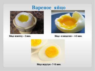 Яйцо вкрутую - 7-10 мин. Яйцо «в мешочек» - 4-5 мин. Яйцо всмятку – 2 мин. Ва