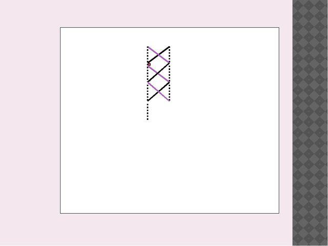 Отдельный ряд сверху вниз: нижний стежок из левого нижнего в правый верхний...