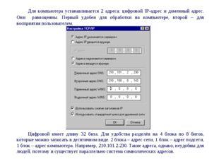 Для компьютера устанавливается 2 адреса: цифровой IP-адрес и доменный адрес.