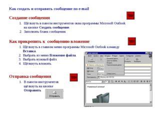 Как создать и отправить сообщение по e-mail Создание сообщения 1. Щёлкнуть в