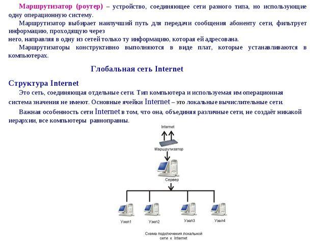 Маршрутизатор (роутер) – устройство, соединяющее сети разного типа, но испо...