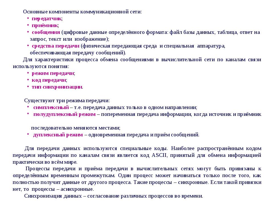 Основные компоненты коммуникационной сети: передатчик; приёмник; сообщени...
