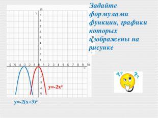 y=-2x² y=-2(x+3)² Задайте формулами функции, графики которых изображены на р
