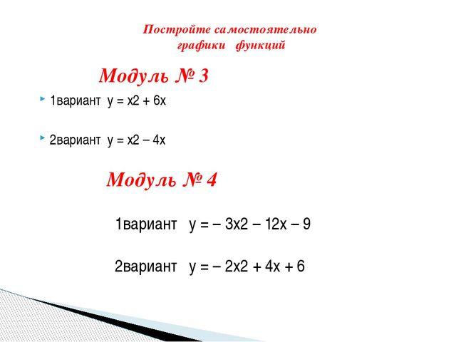 1вариант y = x2 + 6x 2вариант y = x2 – 4x Модуль № 4 1вариант  y = –3x2 –...