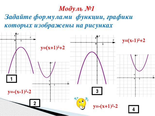1 4 3 2 Модуль №1 Задайте формулами функции, графики которых изображены на р...