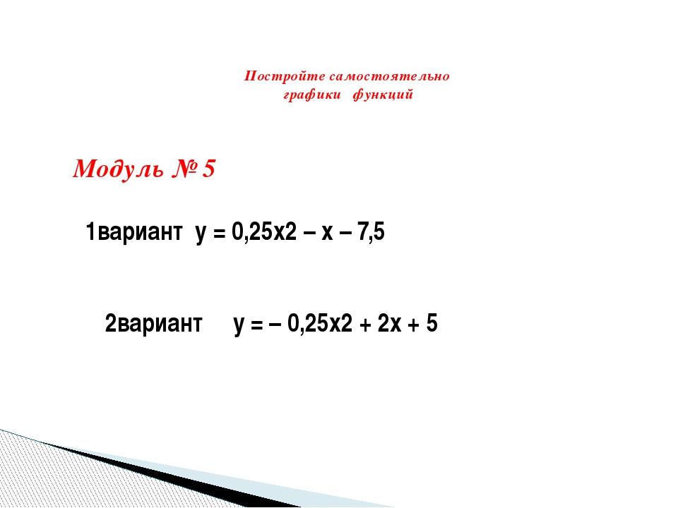 Постройте самостоятельно графики функций Модуль № 5  1вариант y = 0,25x2 –...