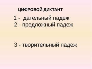 ЦИФРОВОЙ ДИКТАНТ 1 - дательный падеж 2 - предложный падеж 3 - творительный п