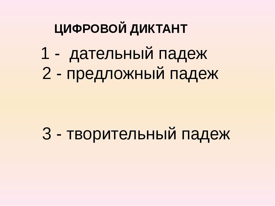 ЦИФРОВОЙ ДИКТАНТ 1 - дательный падеж 2 - предложный падеж 3 - творительный п...