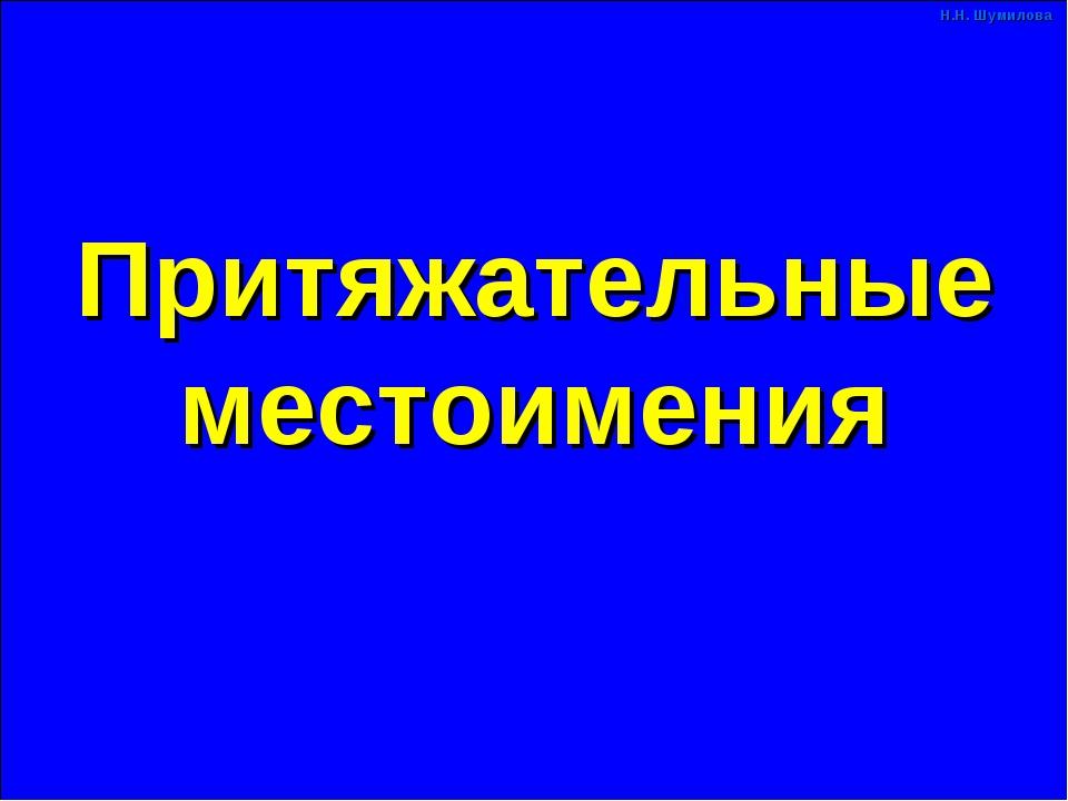 Притяжательные местоимения Н.Н. Шумилова