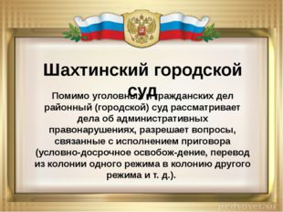 Шахтинский городской суд Помимо уголовных и гражданских дел районный (городс