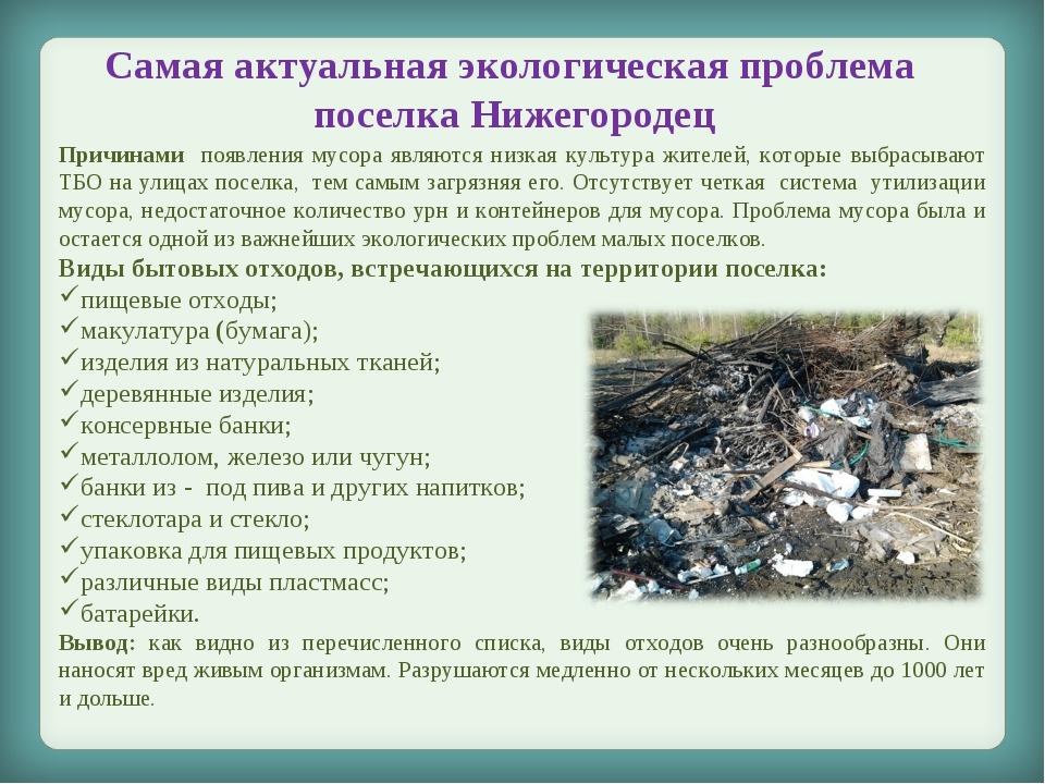 Самая актуальная экологическая проблема поселка Нижегородец Причинами появлен...
