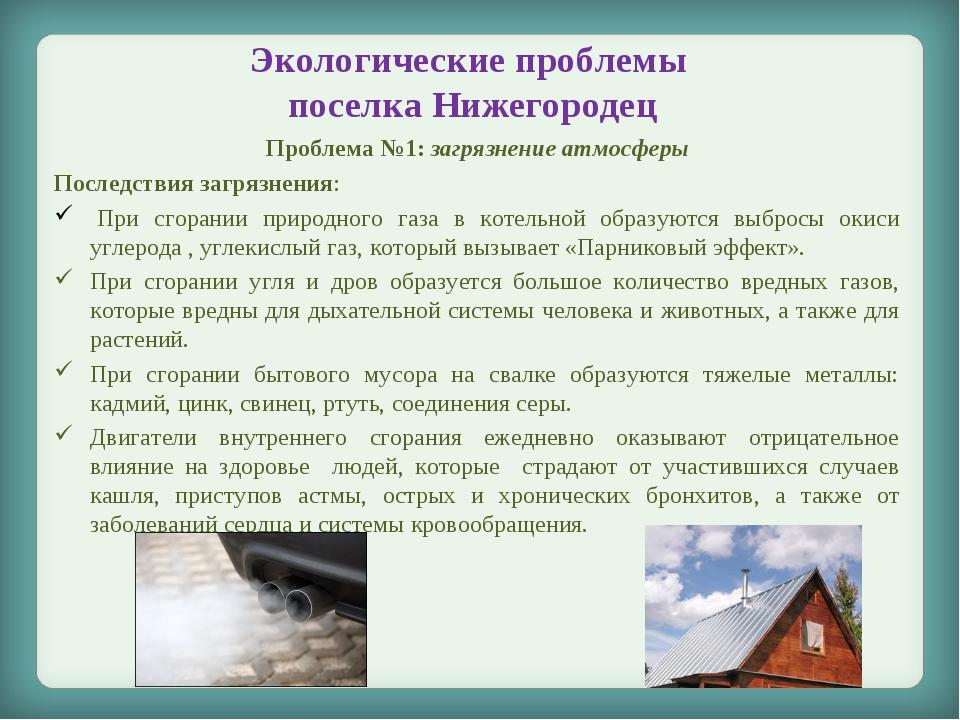 Экологические проблемы поселка Нижегородец Проблема №1: загрязнение атмосферы...