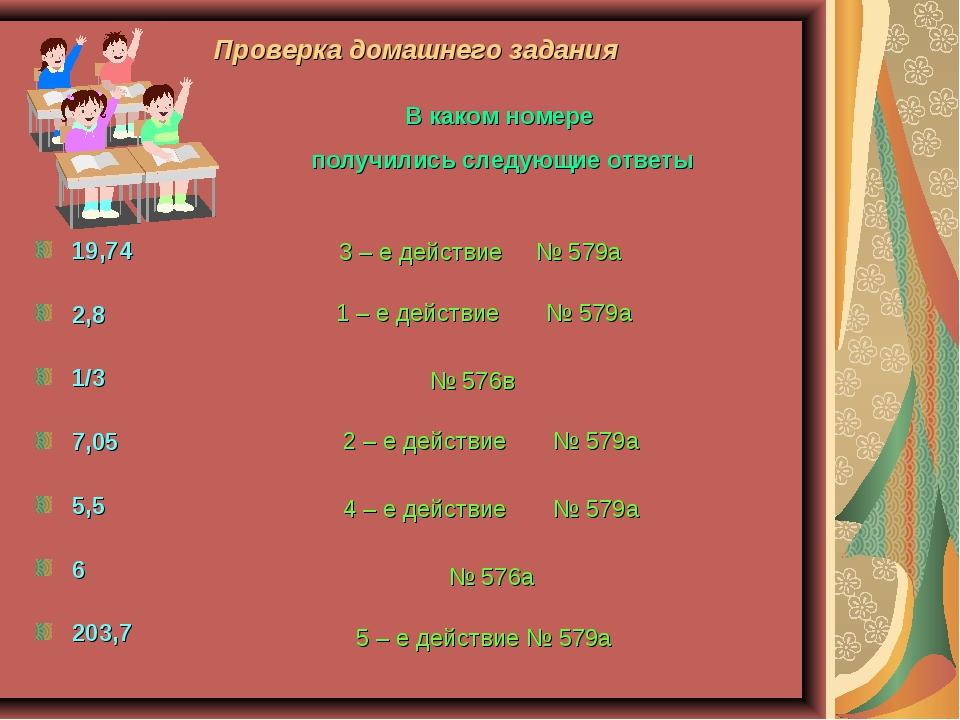 Проверка домашнего задания 19,74 2,8 1/3 7,05 5,5 6 203,7 В каком номере полу...
