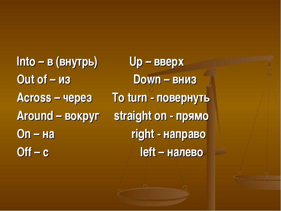 Into – в (внутрь) Up – вверх Out of – из Down – вниз Across – через To turn -...