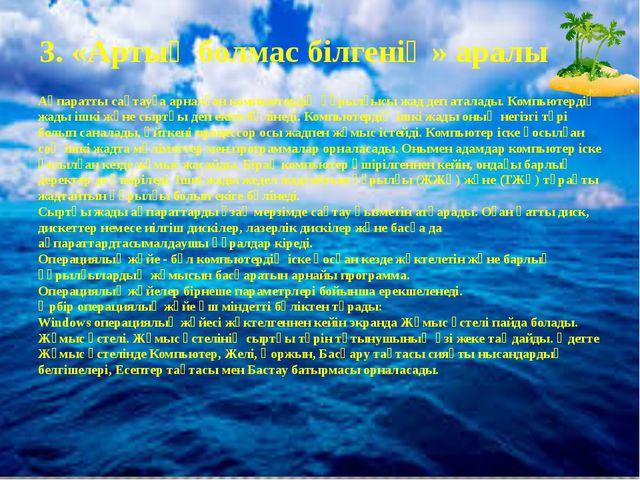 3. «Артық болмас білгенің» аралы Ақпаратты сақтауға арналған компьютердің құр...