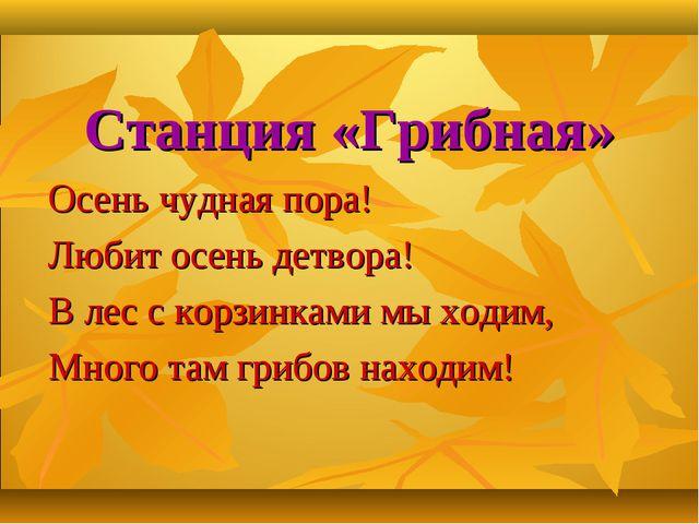 Станция «Грибная» Осень чудная пора! Любит осень детвора! В лес с корзинками...