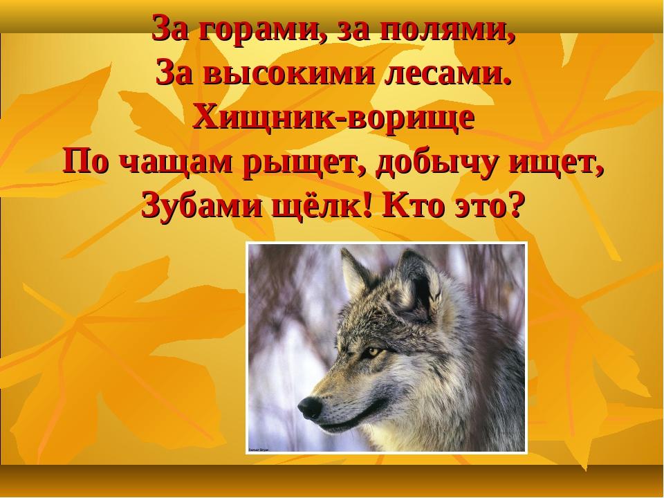 За горами, за полями, За высокими лесами. Хищник-ворище По чащам рыщет, добыч...