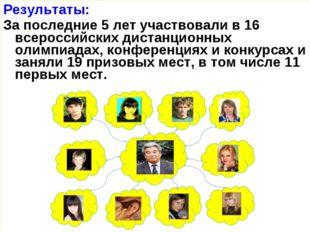 Результаты: За последние 5 лет участвовали в 16 всероссийских дистанционных о