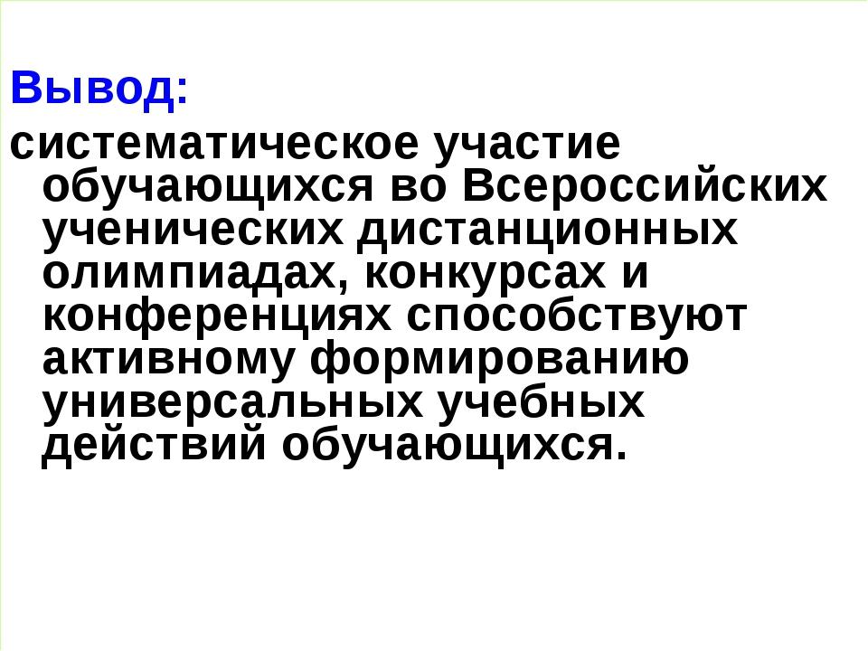 Вывод: систематическое участие обучающихся во Всероссийских ученических дист...