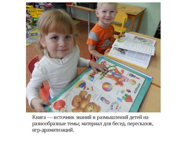 Книга — источник знаний и размышлений детей на разнообразные темы; материал д...