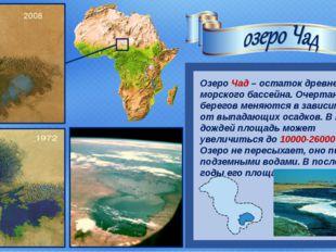 Озеро Чад – остаток древнего морского бассейна. Очертания его берегов меняют