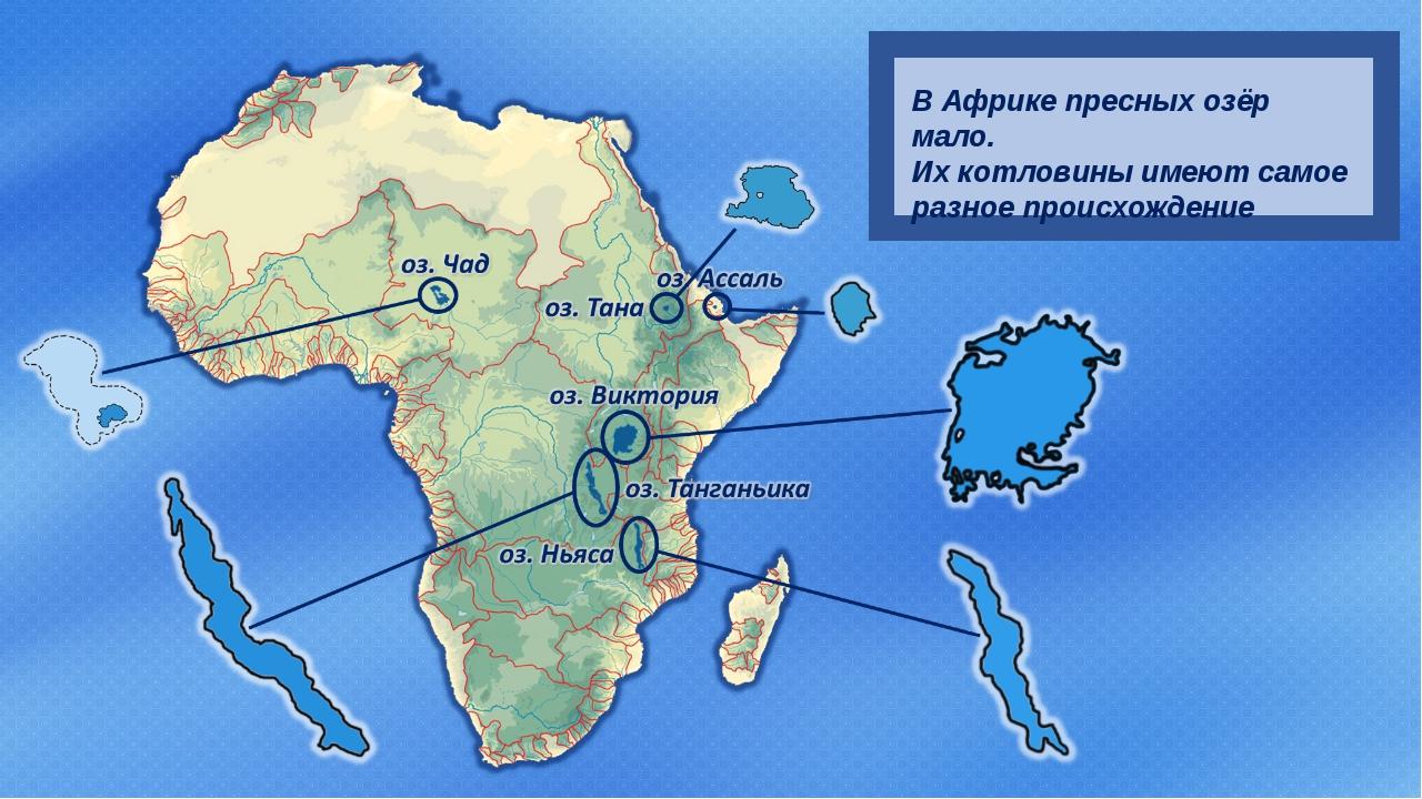 В Африке пресных озёр мало. Их котловины имеют самое разное происхождение