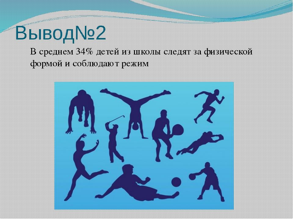 Вывод№2 В среднем 34% детей из школы следят за физической формой и соблюдают...