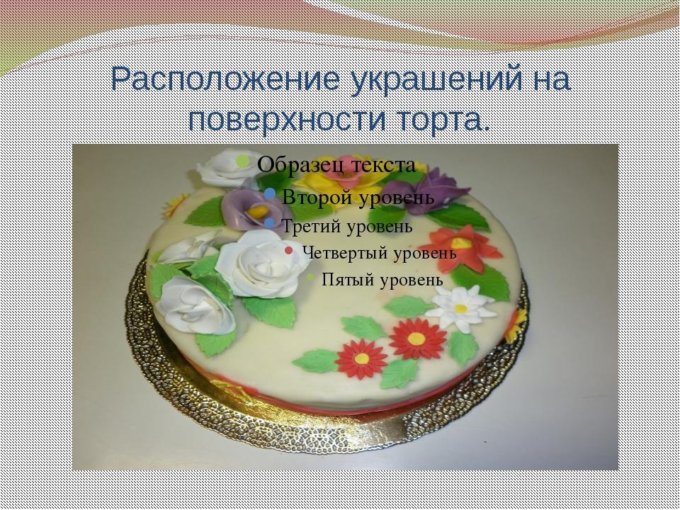 Расположение украшений на поверхности торта.