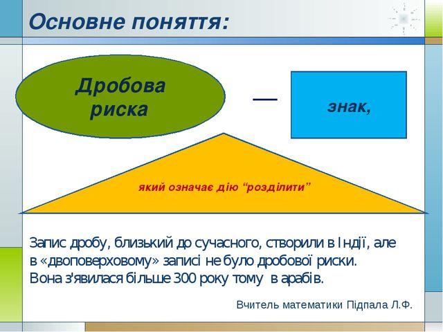 """Основне поняття: Дробова риска знак, який означає дію """"розділити"""" Вчитель мат..."""