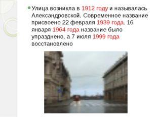 Улица возникла в 1912 году и называлась Александровской. Современное название