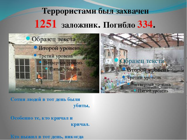 Террористами был захвачен 1251 заложник. Погибло 334. Сотни людей в тот день...