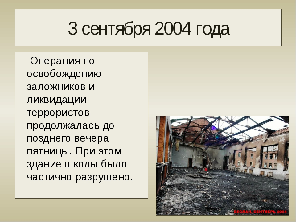 3 сентября 2004 года Операция по освобождению заложников и ликвидации террори...