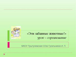 «Эти забавные животные!» урок – соревнование МКОУ Пуштулимская СОШ Гусельнико