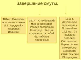 Завершение смуты. 1614 г. Схвачены и казнены атаман И.В.Заруцкий и «воренок И