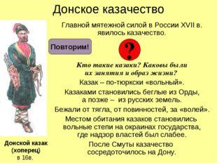 Донское казачество Главной мятежной силой в России XVII в. явилось казачество