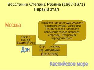 Восстание Степана Разина (1667-1671) Первый этап 1666 г. Поход Василия Уса Ст