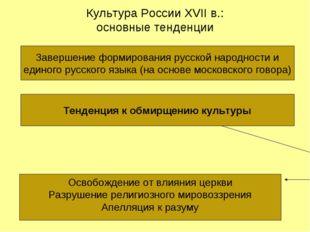 Культура России XVII в.: основные тенденции Завершение формирования русской н