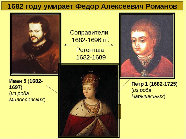 1682 году умирает Федор Алексеевич Романов Петр 1 (1682-1725) (из рода Нарышк...